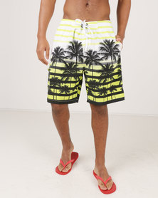 Utopia Palm Print Swim Shorts Lime