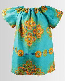 Kieke Floral Print Raglan Dress Turquoise