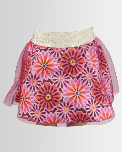 Kieke Print Skirt With Tulle Overlay Multi