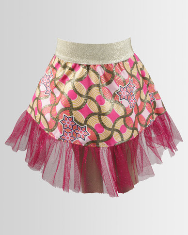 Kieke Print Skirt With Tulle Frill Pink