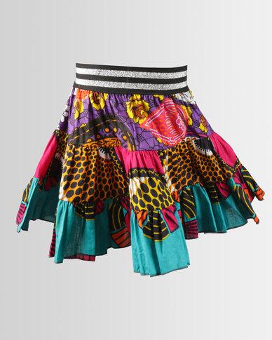 Kieke Print Tiered Flare Skirt Blue Multi