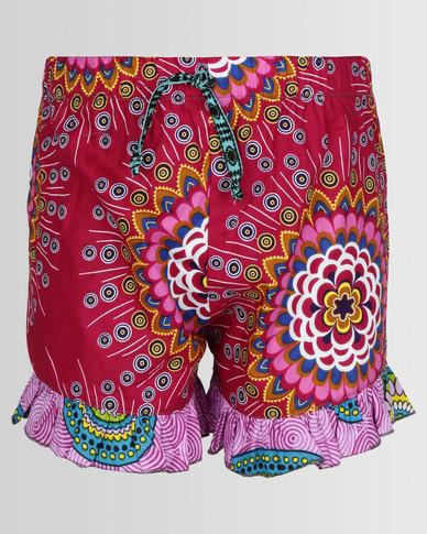 Kieke Pink Print Edge Frill Shorts Cerise