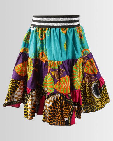 Kieke Print Tiered Flare Skirt Multi