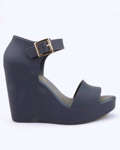 f19185c12 Urban Zone Ankle Strap Wedges Navy