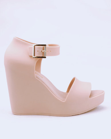 0b72b4b0f Urban Zone Ankle Strap Wedges Nude