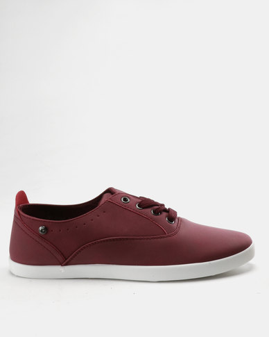 Pierre Cardin PU Lace Up Plimsoll Sneakers Burgundy White