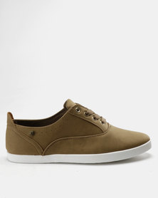 Pierre Cardin PU Lace Up Plimsoll Sneakers Camel