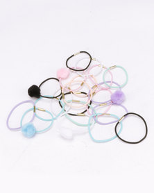Jewels and Lace 20 Pack PomPom Hair Elastics Multi