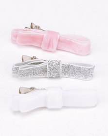 Jewels and Lace Bow Hair Clips Multi