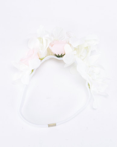 Jewels and Lace  Flower Headband White