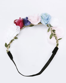 Jewels and Lace Coloured Flower Headband Multi