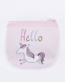 Jewels and Lace Coloured Hello Unicorn Money/Coin Bag Multi