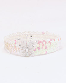 Jewels and Lace Butterfly Sequin Headband White