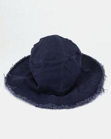 All Heart Frayed Edge Bucket Hat Navy