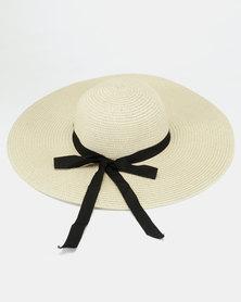 All Heart Ribbon Detail Straw Hat Natural