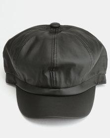 All Heart Faux Leather Baker Boy Hat Black