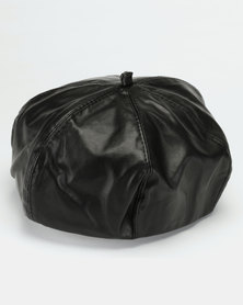 All Heart Faux Leather Beret Black