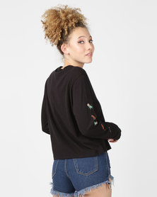 Hurley Palmer Perf Crew Long Sleeve Shirt Black