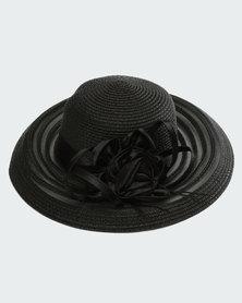 Queenspark Glam Flower Trim Hat Black