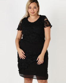 Queenspark Plus Layered Lace Woven Dress Black