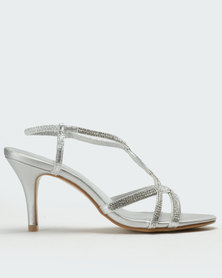 Queenspark High Heel Diamante Twisted Glamour Sandals Silver