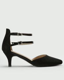 Queenspark Lurex Glamour Shoe With Buckle Details Black