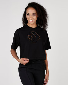 Converse Burnout Star Chevron Cropped Boxy Tee Black