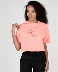 Converse Burnout Star Chevron Cropped Boxy Tee Crimson Pulse