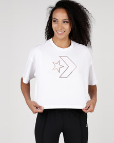 Converse Burnout Star Chevron Cropped Boxy Tee White