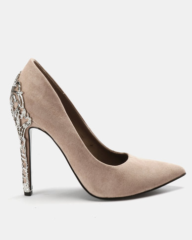 MHNY By Madison Nicole Back Encrusted Stiletto Courts Blush Suede