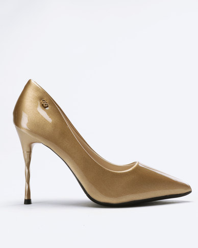 Miss Black Arabella Heeled Court Gold