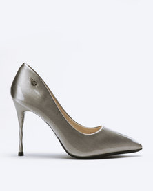 Miss Black Arabella Heeled Courts Silver