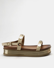 Miss Black Ayuka Flatform Sandals Nude