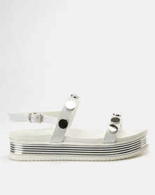 Miss Black Ayuka Flatform Sandals White