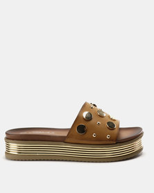 Miss Black Leni Flatform Sandals Tan