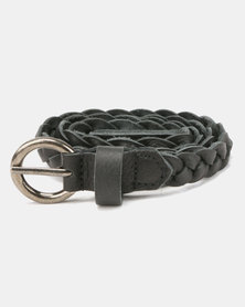 Saddler Belts Ladies Genuine Leather Plaited Belt Black