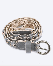 Saddler Belts Ladies Genuine Leather Plaited Belt Grey