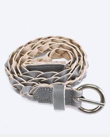 Saddler Belts Ladies Genuine Leather Plaited Belt Grey