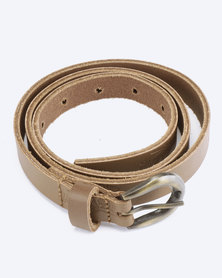 Saddler Belts Ladies Genuine Leather Floral Emboss Belt Tan