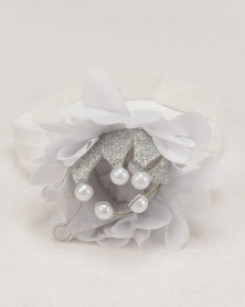 Bugsy Boo Crown Headband White/Silver