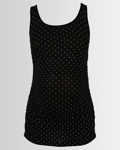 53bb7c36f0b Cherry Melon Tank Top With Side Detail Black White Spot