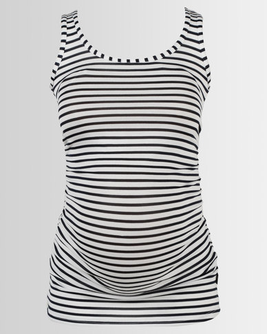 Cherry Melon Tank Top with Side Detail Stripe Ivory/Navy