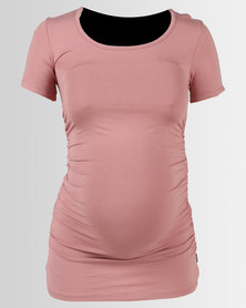 Cherry Melon Round Neck Top Deep Blush