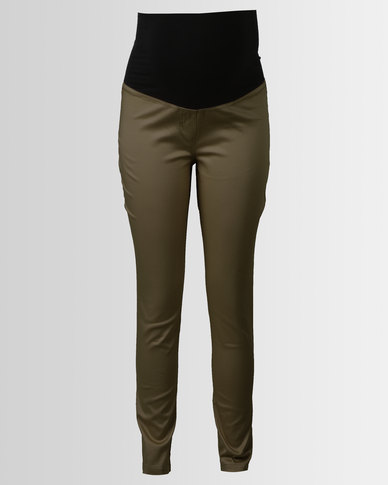 Cherry Melon Skinny Sateen Pants Fatigue