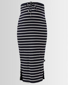 Cherry Melon Maxi Skirt With Side Slits Navy/White Stripe
