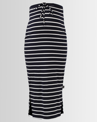 Cherry Melon Maxi Skirt With Side Slits Navy/White Stripe