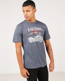 Kakiebos Oorlog Fiets T-Shirt Navy Melange