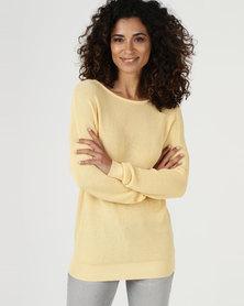 YAYA Sweater With Back Detail Yellow