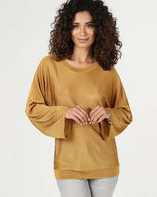 YAYA Shine Knit Sweater Bronze