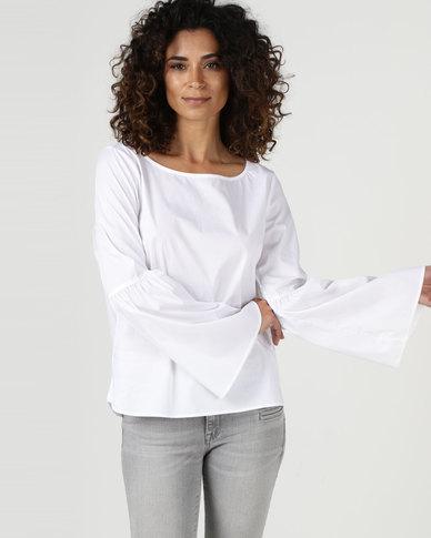 YAYA Bell Sleeve Blouse White